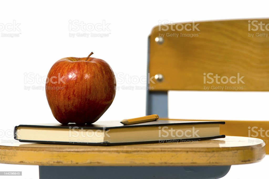 Blank note on school book royalty-free stock photo