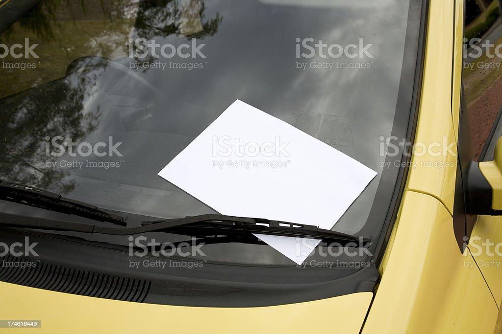 Blank Note on Windscreen. stock photo