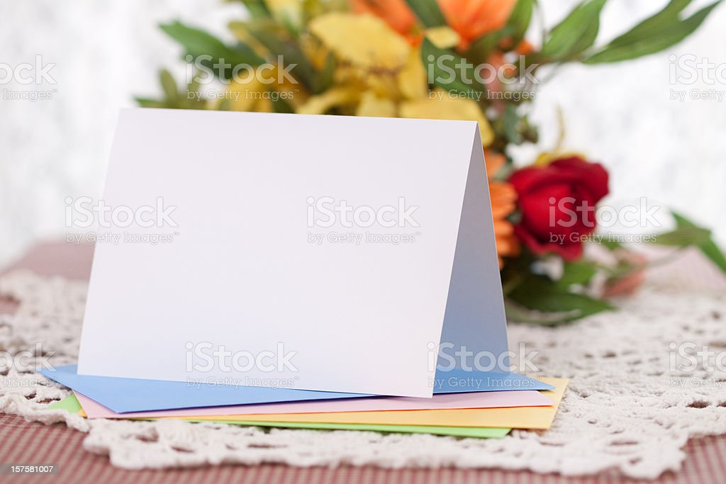 Blank Note or Greeting Card stock photo