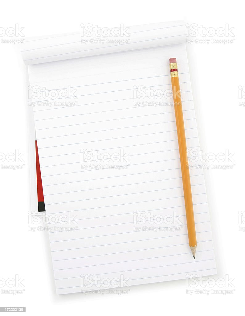 Blank Note Pad and Pencil royalty-free stock photo