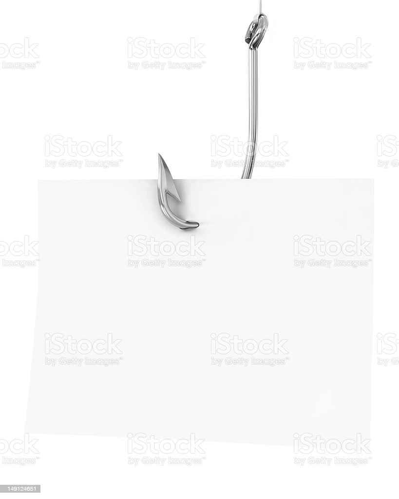 Blank note paper on a fishing hook stock photo