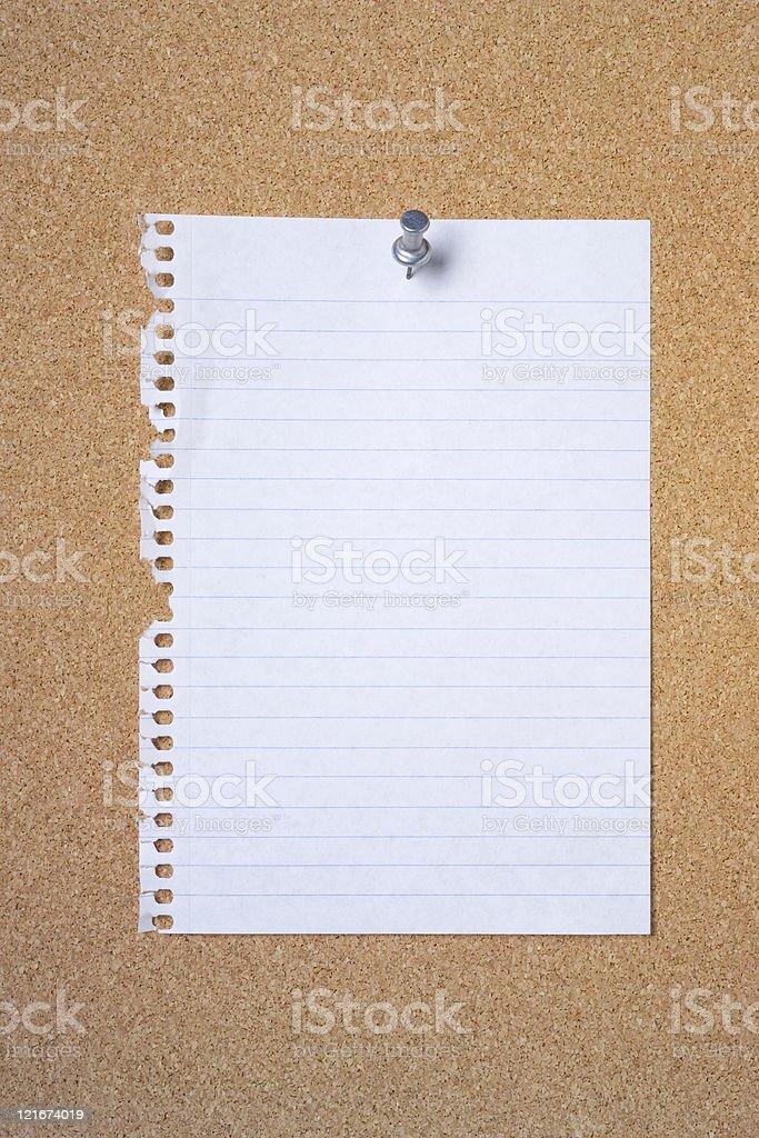 Blank note paper on cork board stock photo