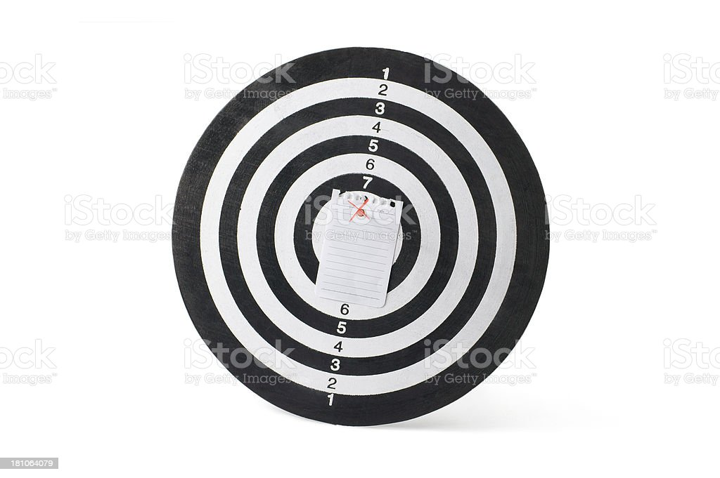 Blank Note Paper on Dartboard royalty-free stock photo