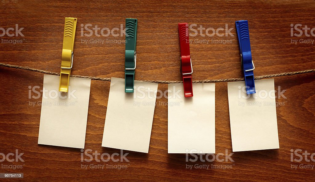 Blank note papers on wooden background royalty-free stock photo