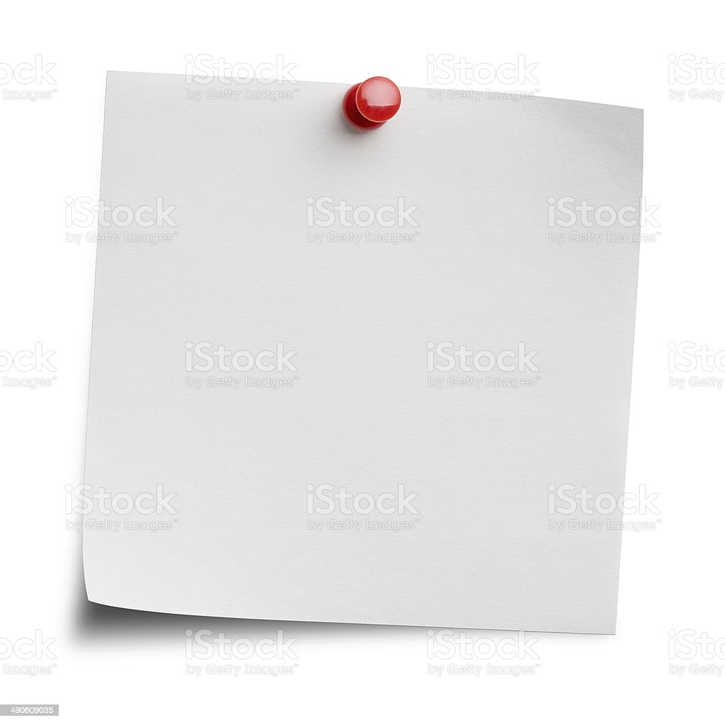 Blank note with clipping path stock photo
