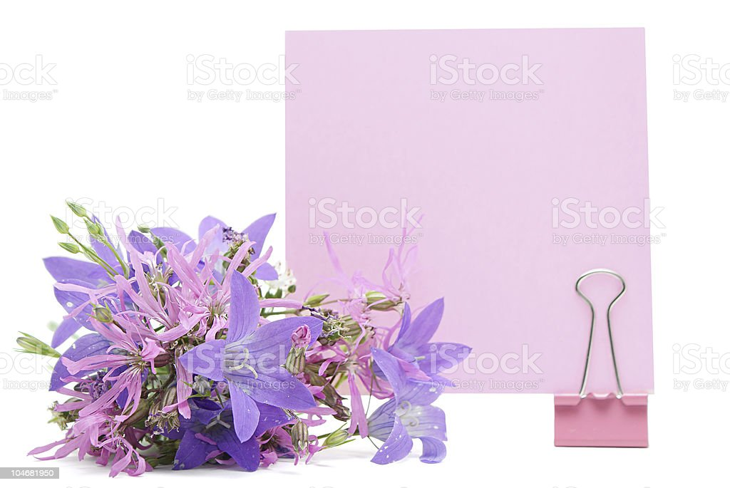Blank note with flowers royalty-free stock photo