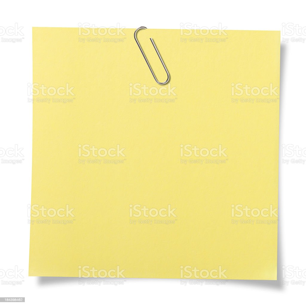 Blank note with paper clip. royalty-free stock photo