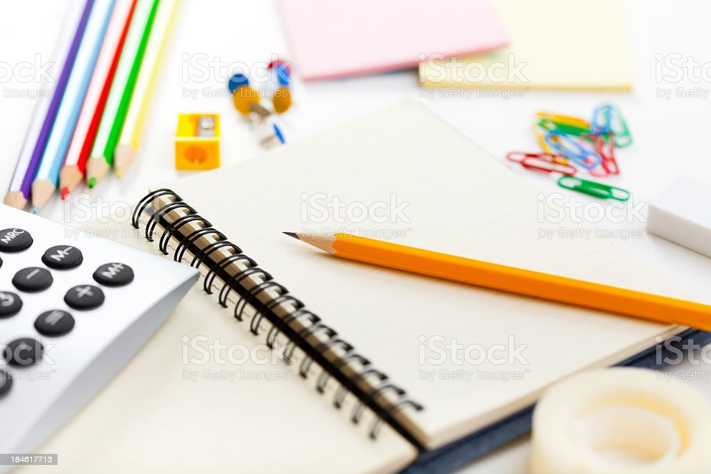Blank notebook and office or school supplies royalty-free stock photo