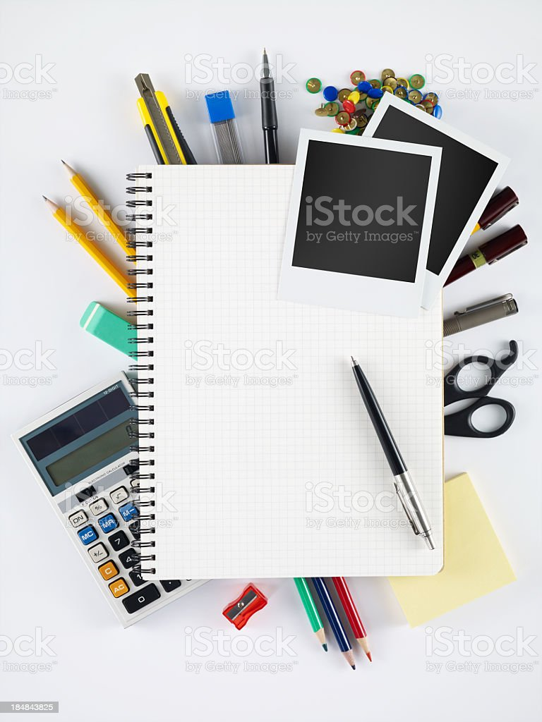 Blank Notebook and polaroids royalty-free stock photo