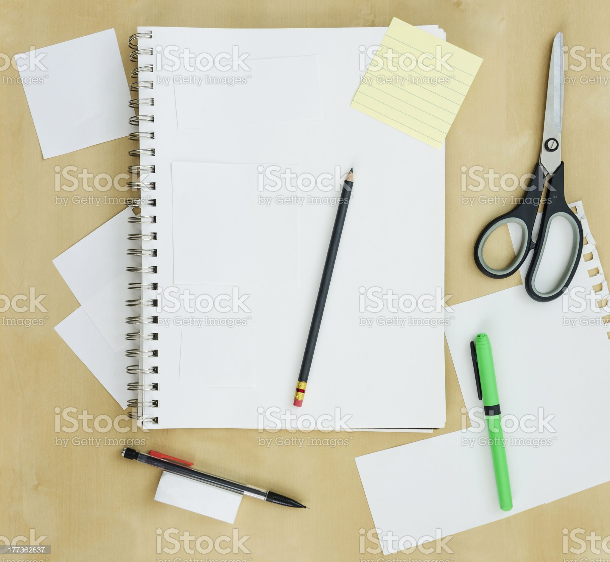 Blank notebook and supplies royalty-free stock photo