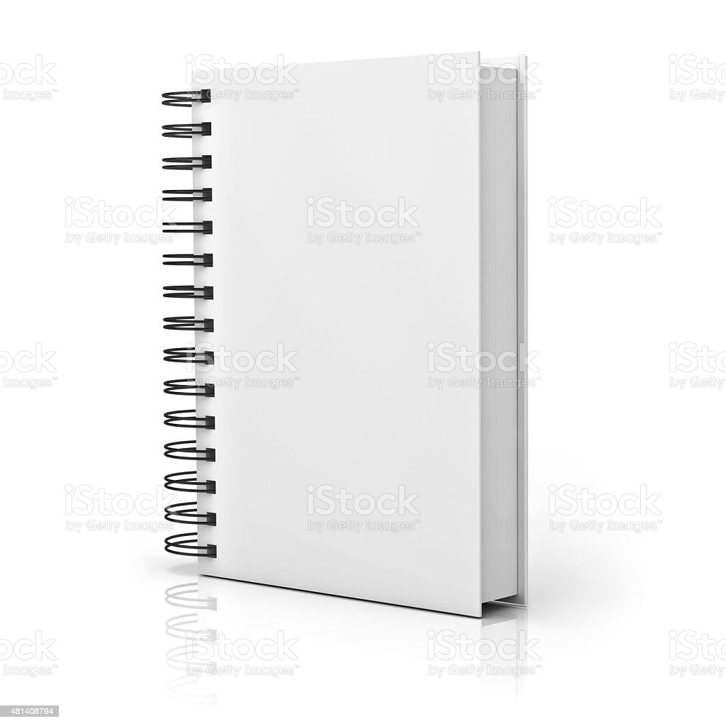 Blank notebook cover over white stock photo