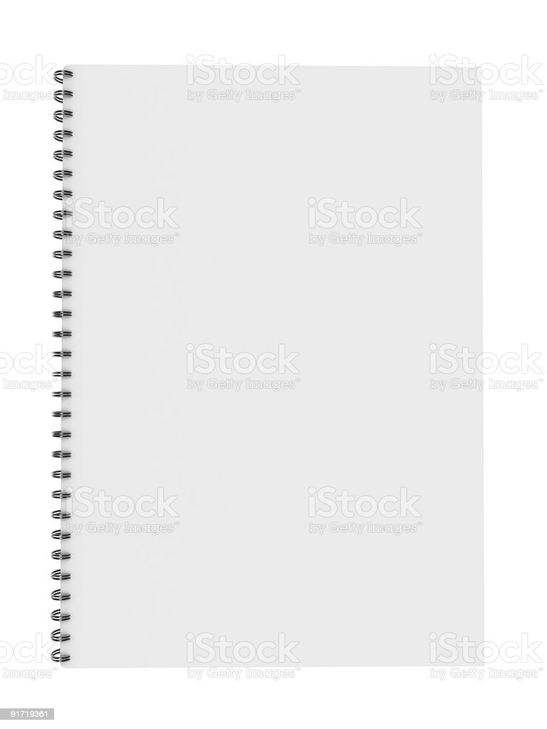 blank notebook isolated on white stock photo