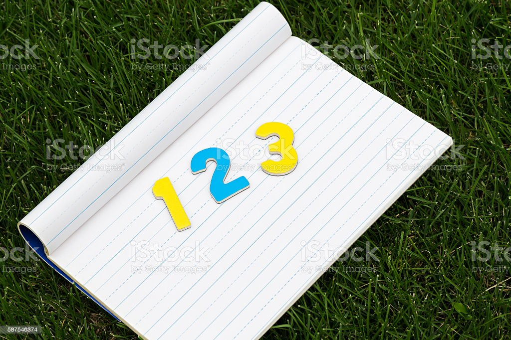 Blank Notebook Page with Numbers 123 on Green Grass stock photo