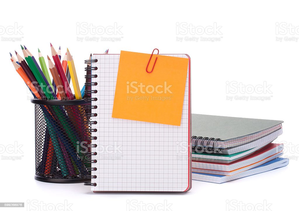 blank notebook sheet and apple. stock photo