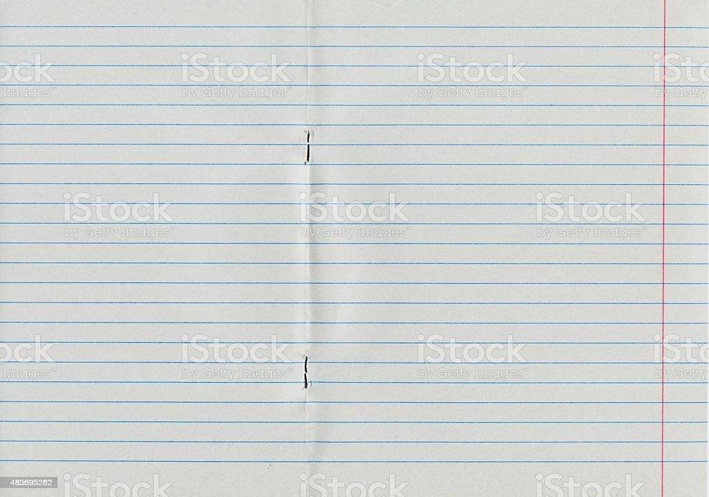 Blank notebook sheet stock photo