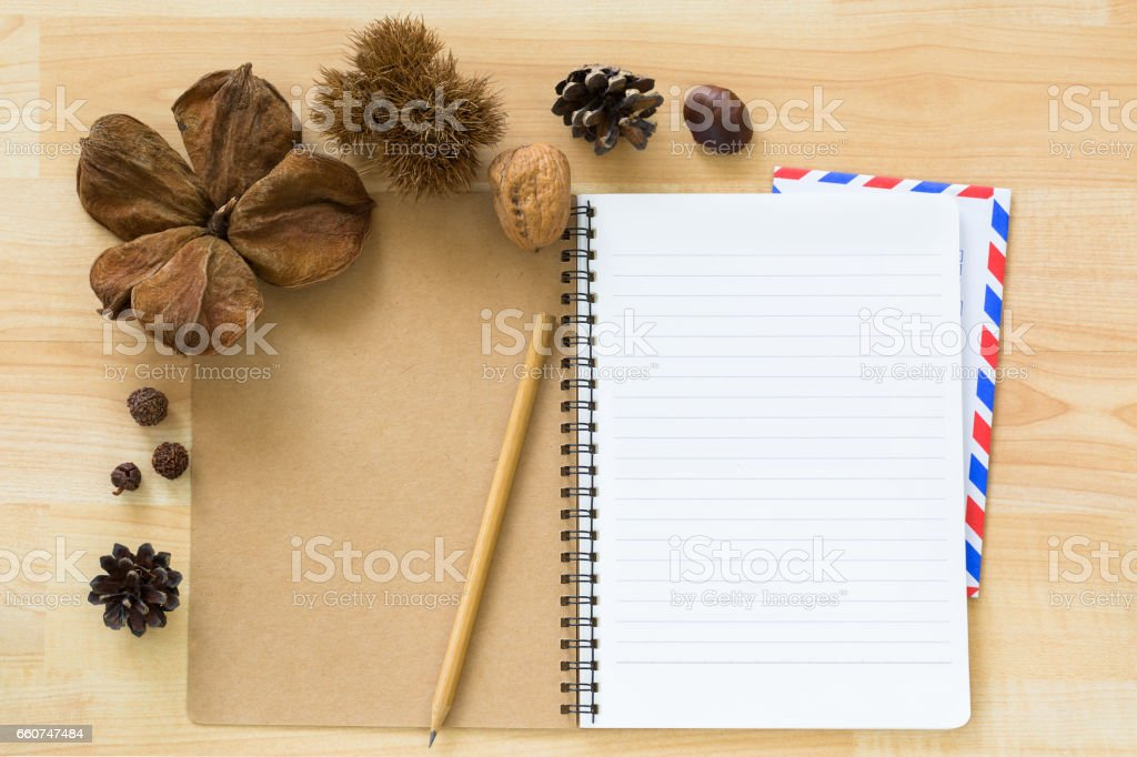 Blank notebook with airmail envelope dried pine cone chestnut walnut cover stock photo