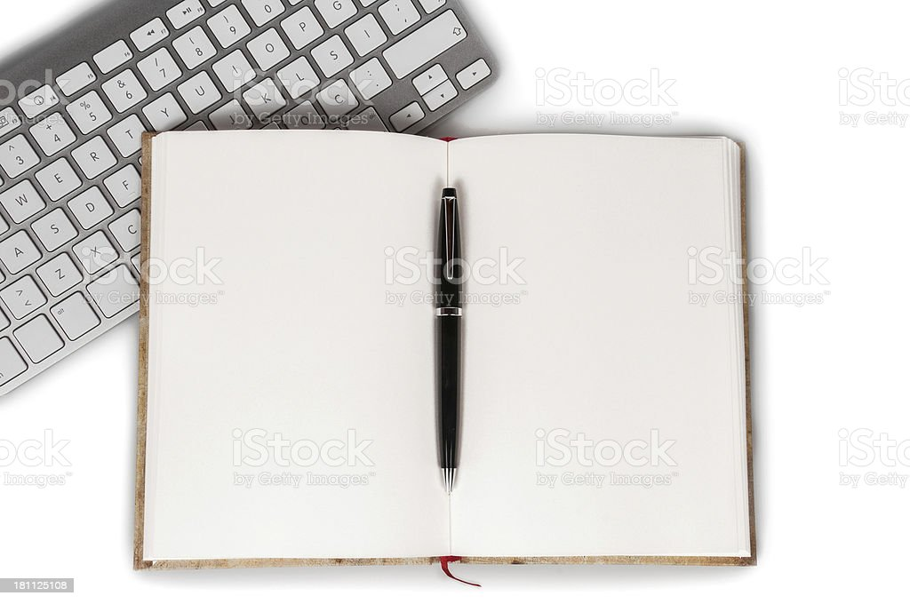 Blank notebook with keyboard and pen royalty-free stock photo