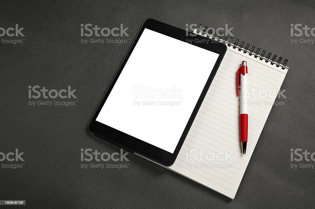 Blank notebook with mini tablet and pen royalty-free stock photo