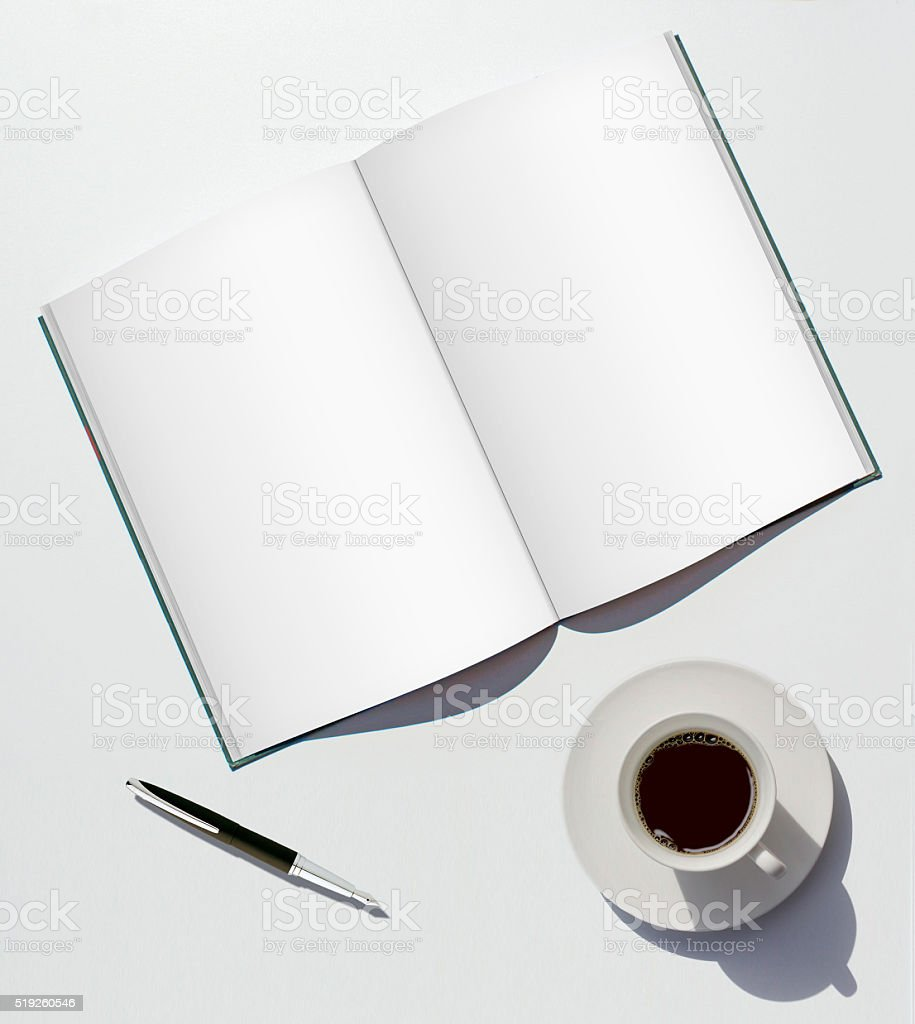 Blank Notebook with Pen and Coffee stock photo