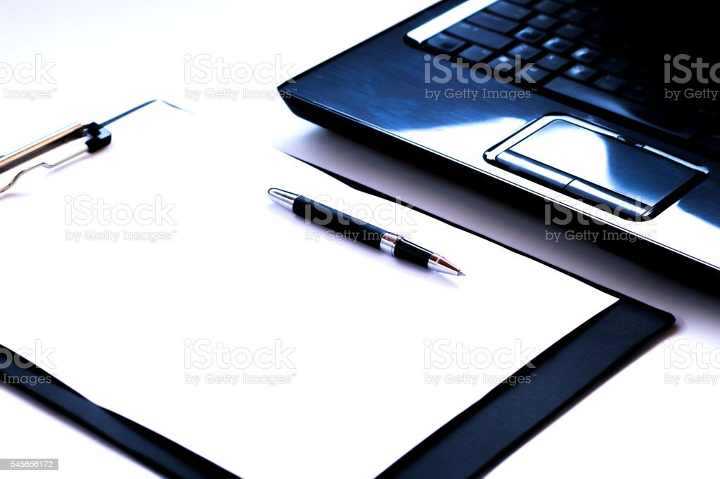 Blank notebook with tablet stock photo