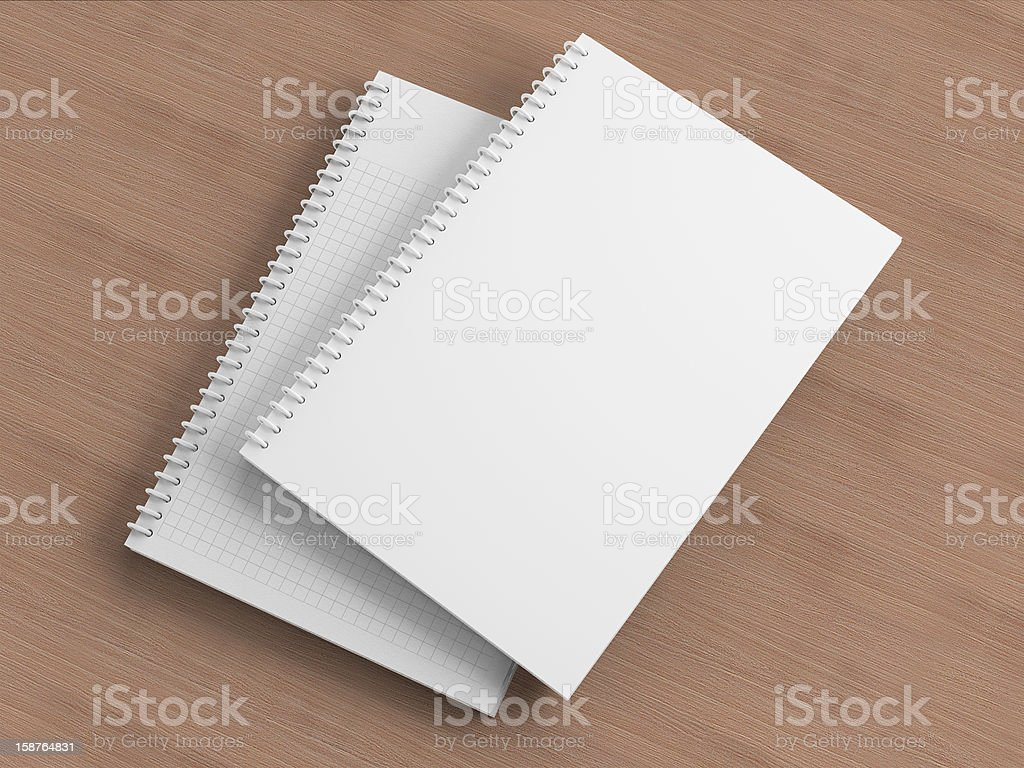Blank Notebooks on the table stock photo