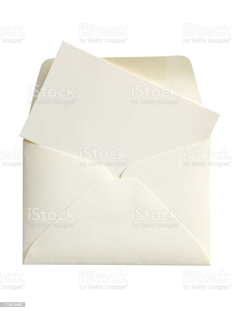 Blank Notecard & Envelope with Clipping Path royalty-free stock photo
