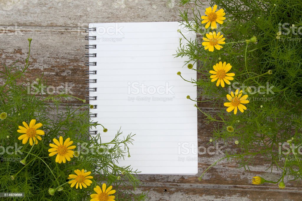 Blank Notepad and flower on wooden table stock photo
