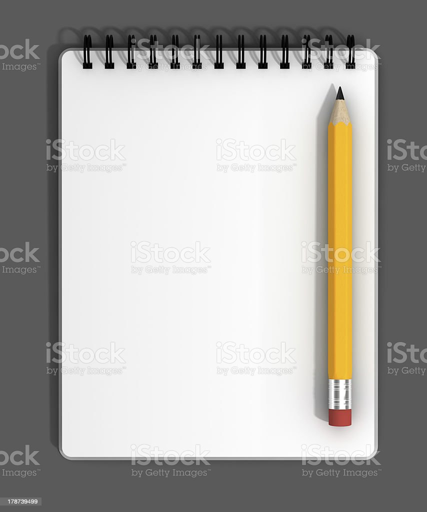 Blank Notepad and Pencil royalty-free stock photo