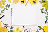 Blank notepad in autumn leaves frame, free space