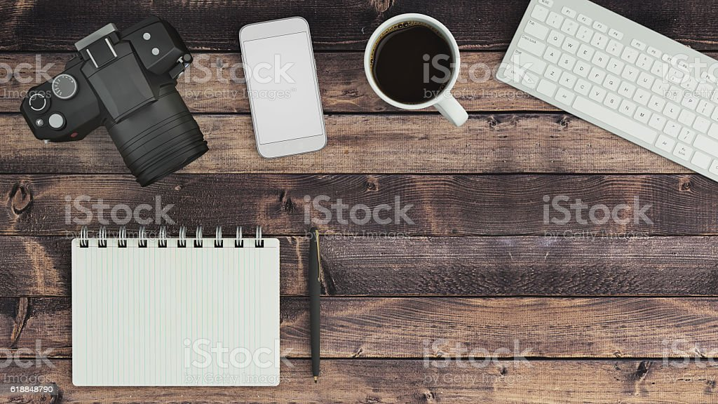 Blank notepad on a table stock photo