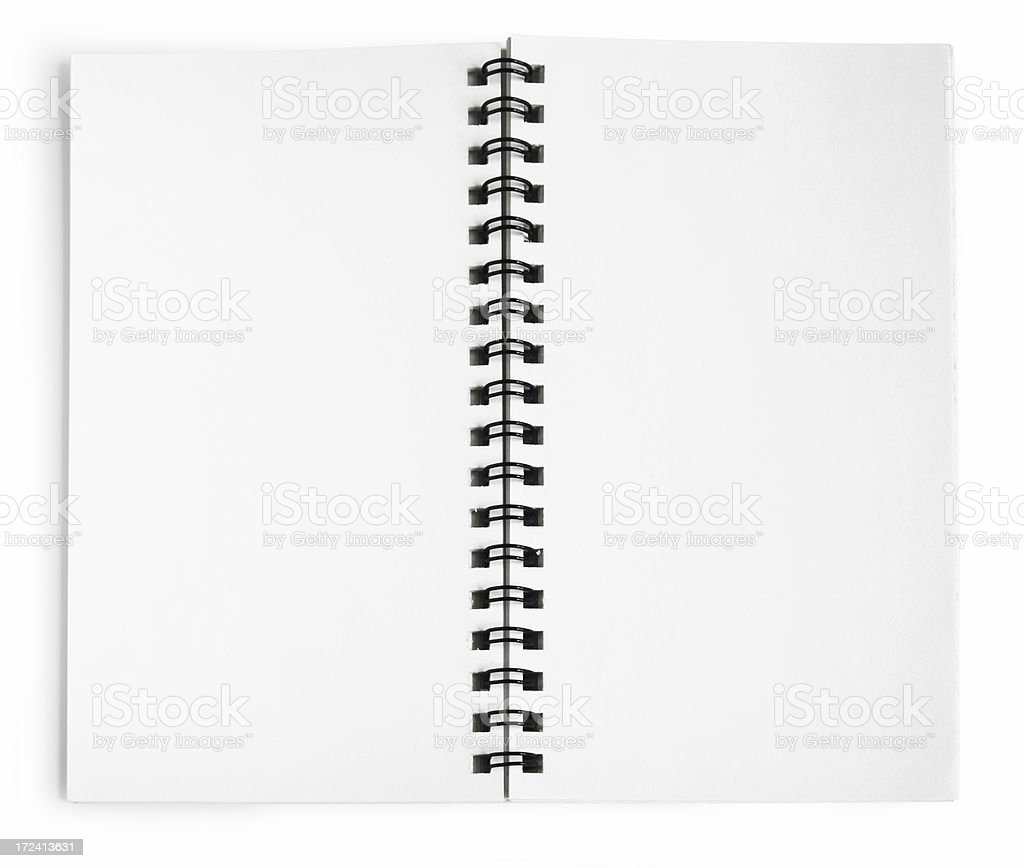 Blank notepad tied together with a black spiral stock photo