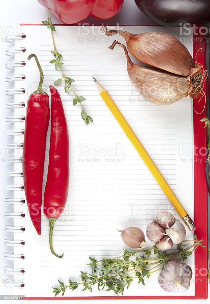 Blank notepad with ingredients for your recipe royalty-free stock photo