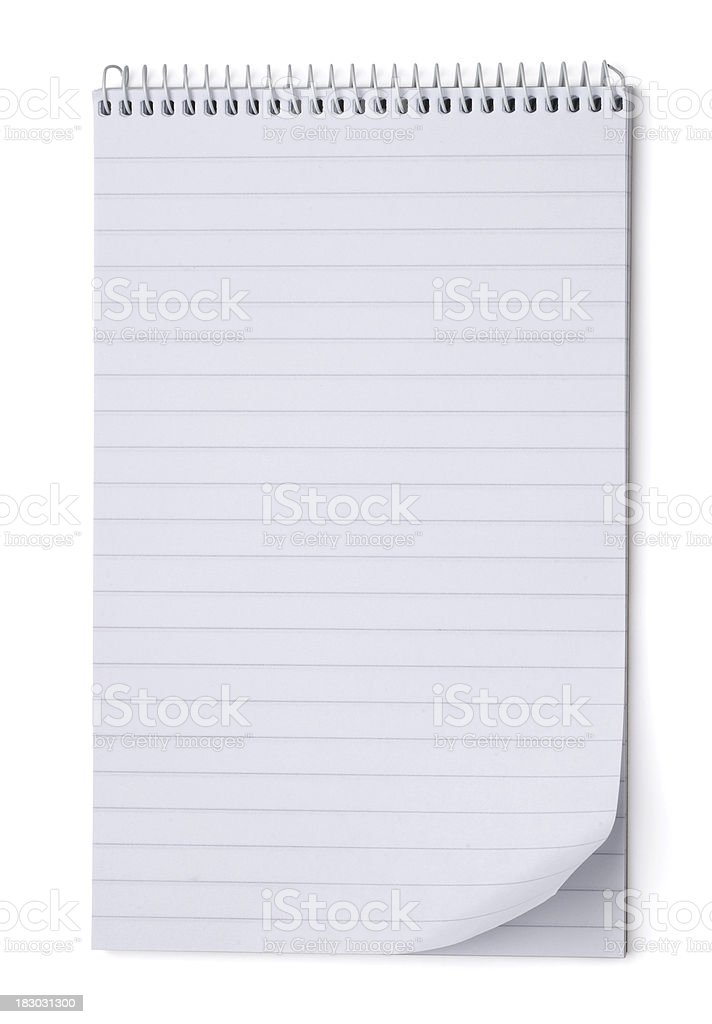 Blank notepad with page turned up and clipping path stock photo