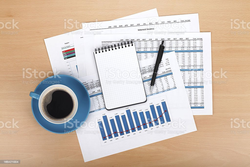 Blank notepad with pen and coffee cup royalty-free stock photo