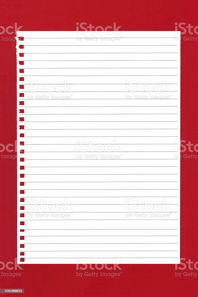 Blank Notepaper on Red royalty-free stock photo