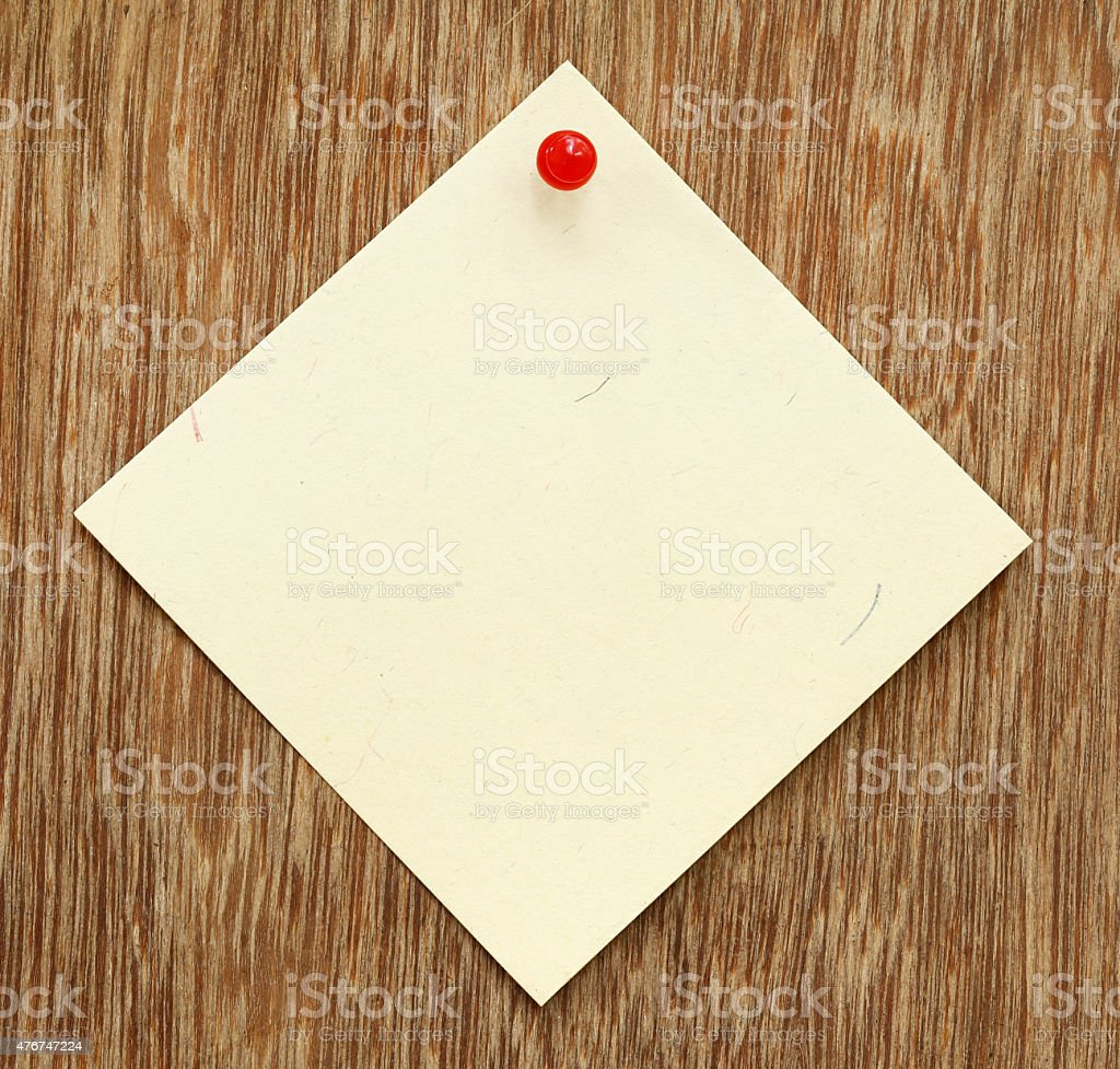 Blank notice with pushpin stock photo