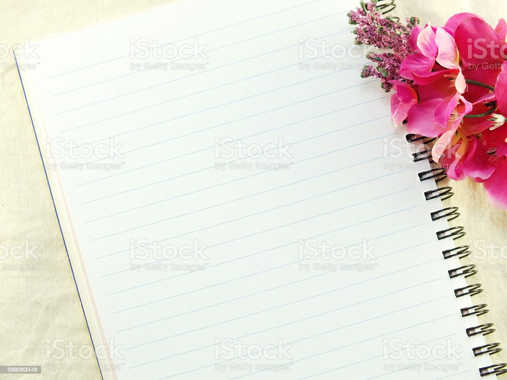 blank of notebook background with bouquet of flowers background stock photo