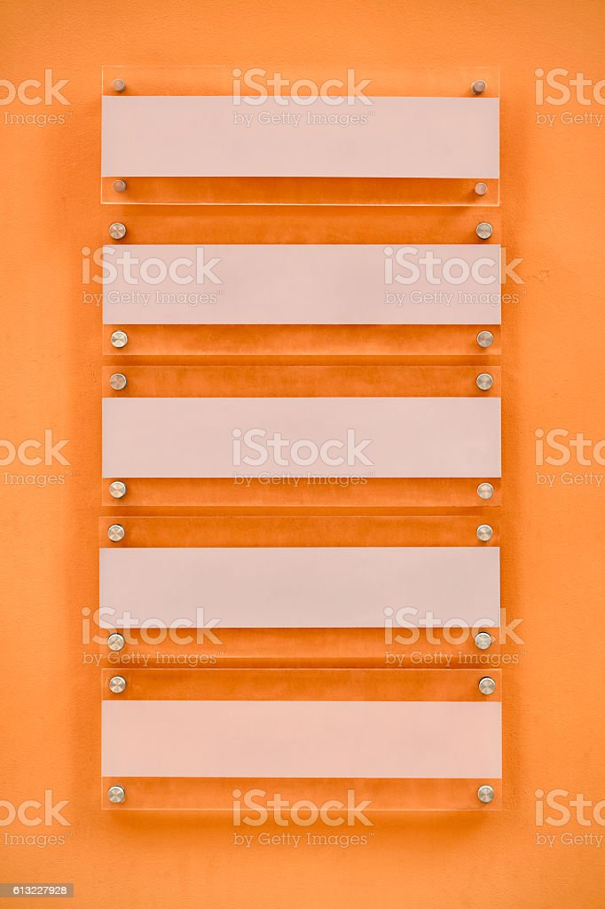 Blank office signs on a wall stock photo