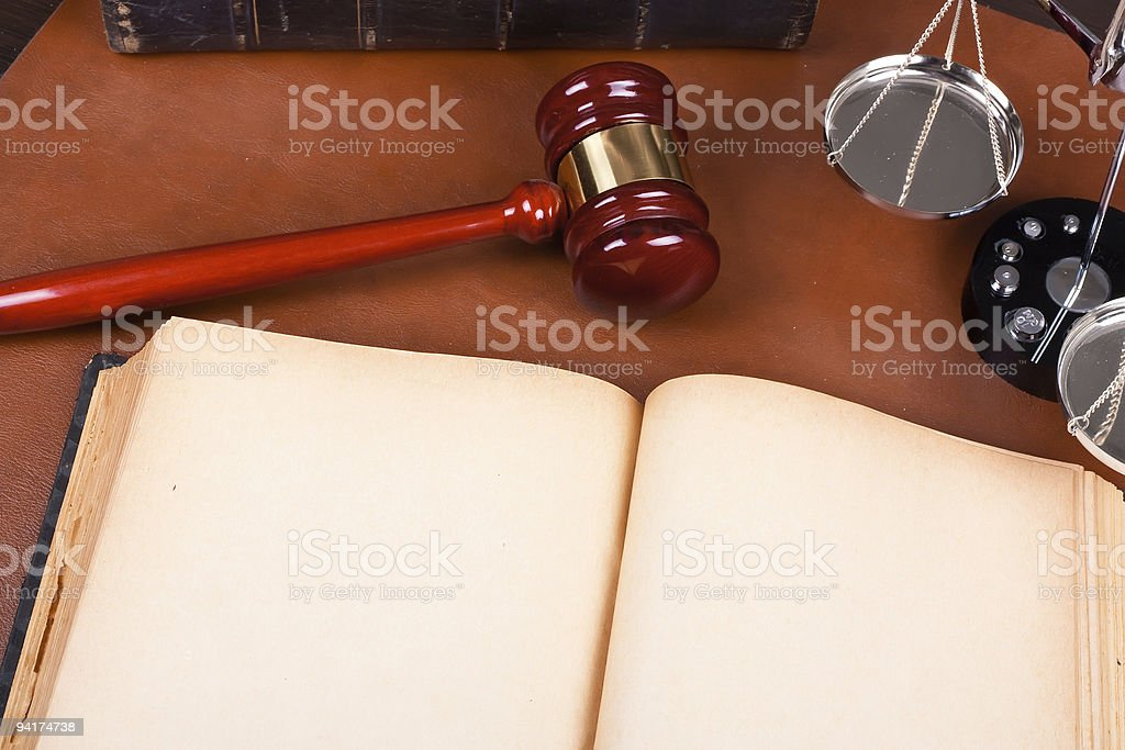 Blank old book and Legal system stock photo