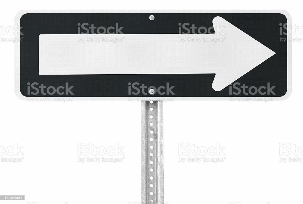 Blank one way sign with clipping path stock photo