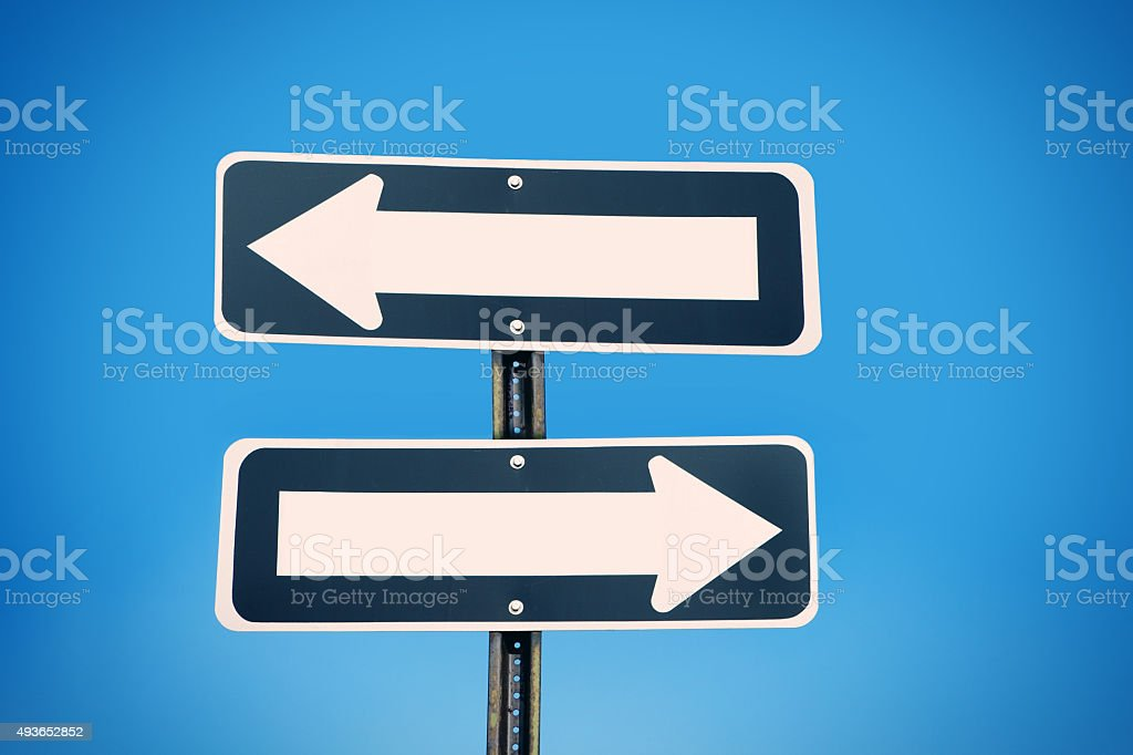 Blank One Way Signs stock photo