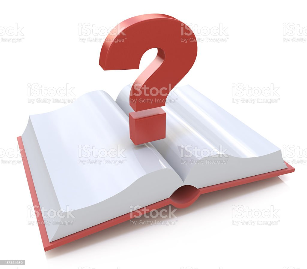 Blank open book and a question mark. 3d render illustration stock photo