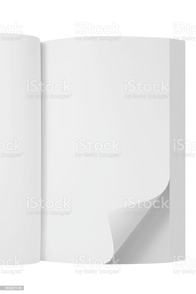 Blank Open Book with page curl royalty-free stock photo