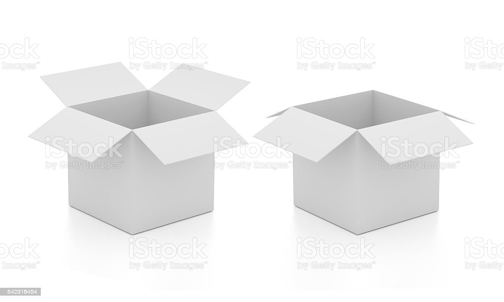 Blank open boxes stock photo