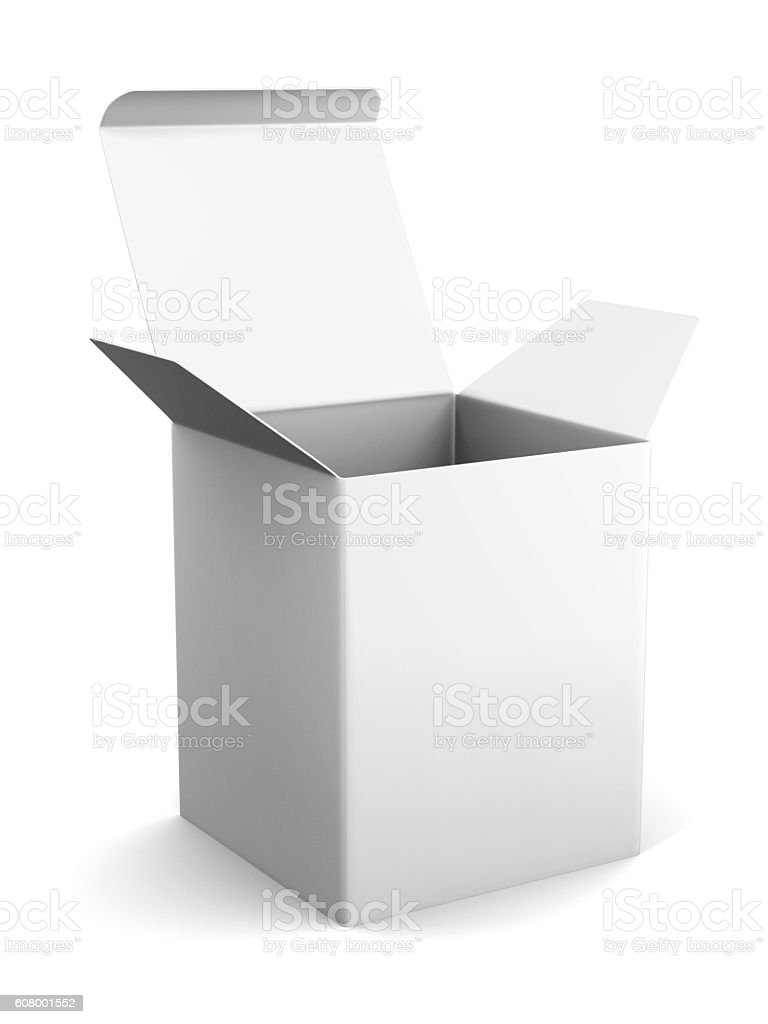 Blank open cardboard box template standing on white background. stock photo