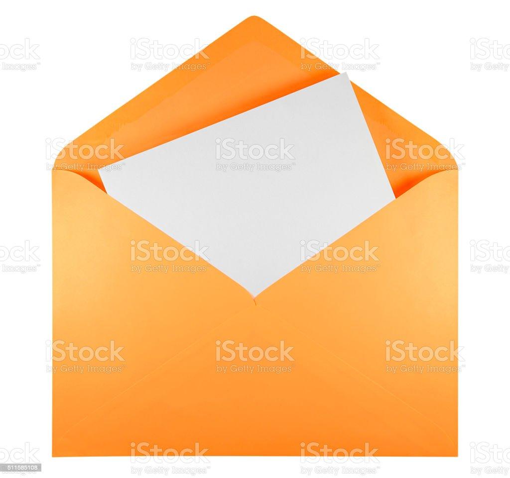 Blank open envelope - orange stock photo