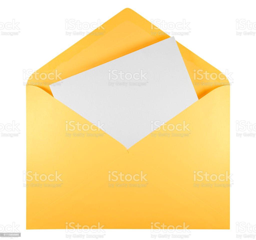 Blank open envelope - yellow stock photo