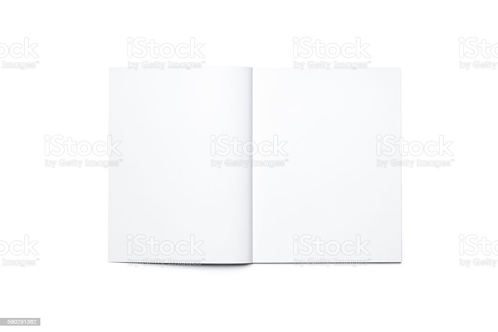 Blank open magazine isolated stock photo