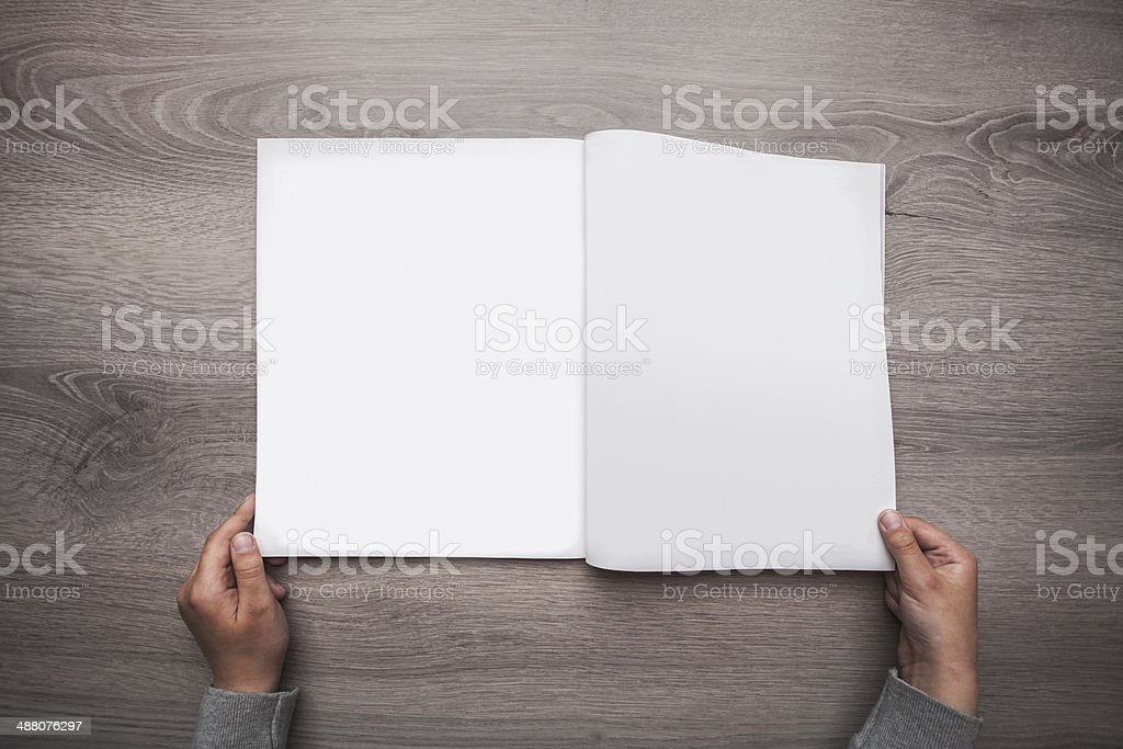 Blank open magazine stock photo
