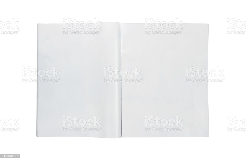 Blank open magazine with copy space stock photo